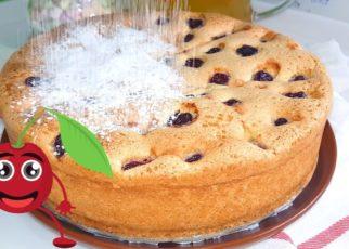 yt 58400 . Simple cherry pie 322x230 - Бисквитный пирог с вишней. Как приготовить простой вишнёвый пирог | Simple cherry pie.