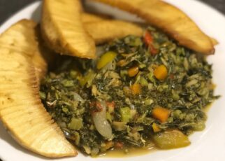 yt 224591 Cooking with Bling How to cook salt fish callaloo and fried breadfruit 322x230 - Cooking with Bling - How to cook salt fish,  callaloo and fried breadfruit.