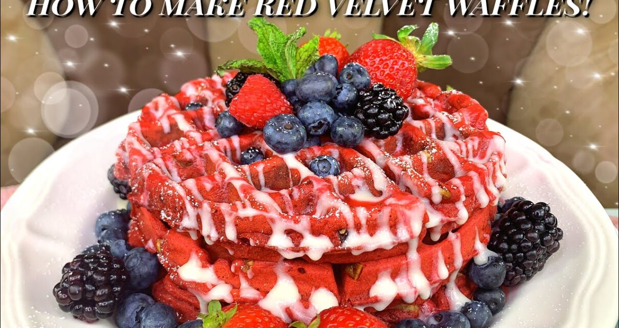 yt 237231 HOW TO MAKE RED VELVET WAFFLES WITH RASPBERRY SAUCE AND A CREAM CHEESE GLAZE 1210x642 - HOW TO MAKE RED VELVET WAFFLES! (WITH RASPBERRY SAUCE AND A CREAM CHEESE GLAZE)