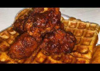 yt 239587 Vegetarian Nashville hot chicken and waffles 322x230 - Vegetarian Nashville hot chicken and waffles